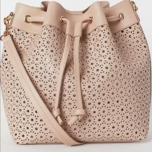 Perforated Peach Bucket Sling Bag